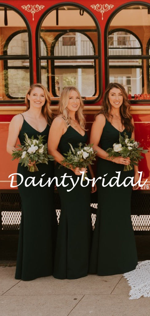 Sexy Spaghetti Strap V-neck Mermaid Long Bridesmaid Dresses.DB10769