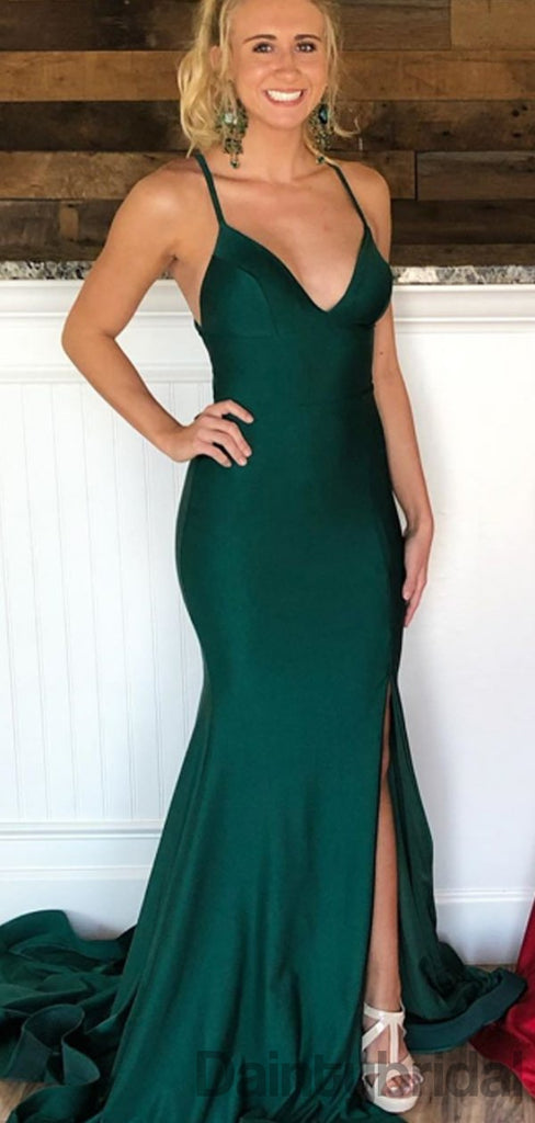 Sexy V-neck Mermaid Satin Open Back Long Prom Dresses. DB10283