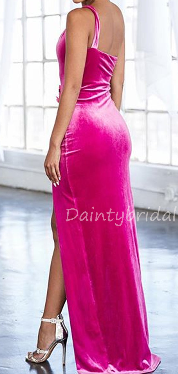 Charming One-shoulder Velvet Mermaid Side Slit Long Prom Dresses Evening Dresses.DB10552