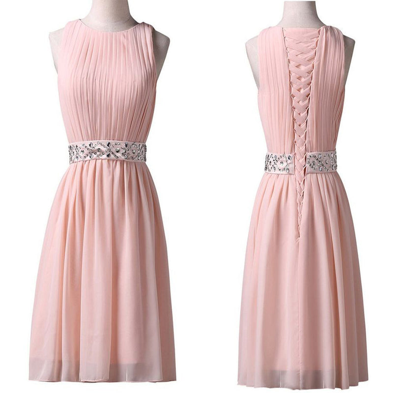 Elegant Light pink Lace Up Back Sleeveless Chiffon With Beading Sash Knee-Length Homecoming Prom Dress,BD00119