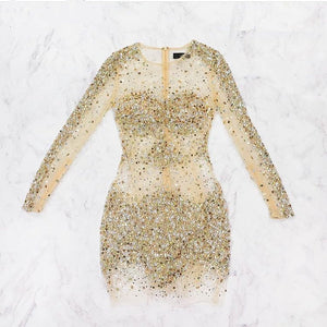 Sexy Rhinestone Sequins Clairvoyant Outfit Long Illusion Sleeve Sheath Mini Homecoming Dress,BD0112