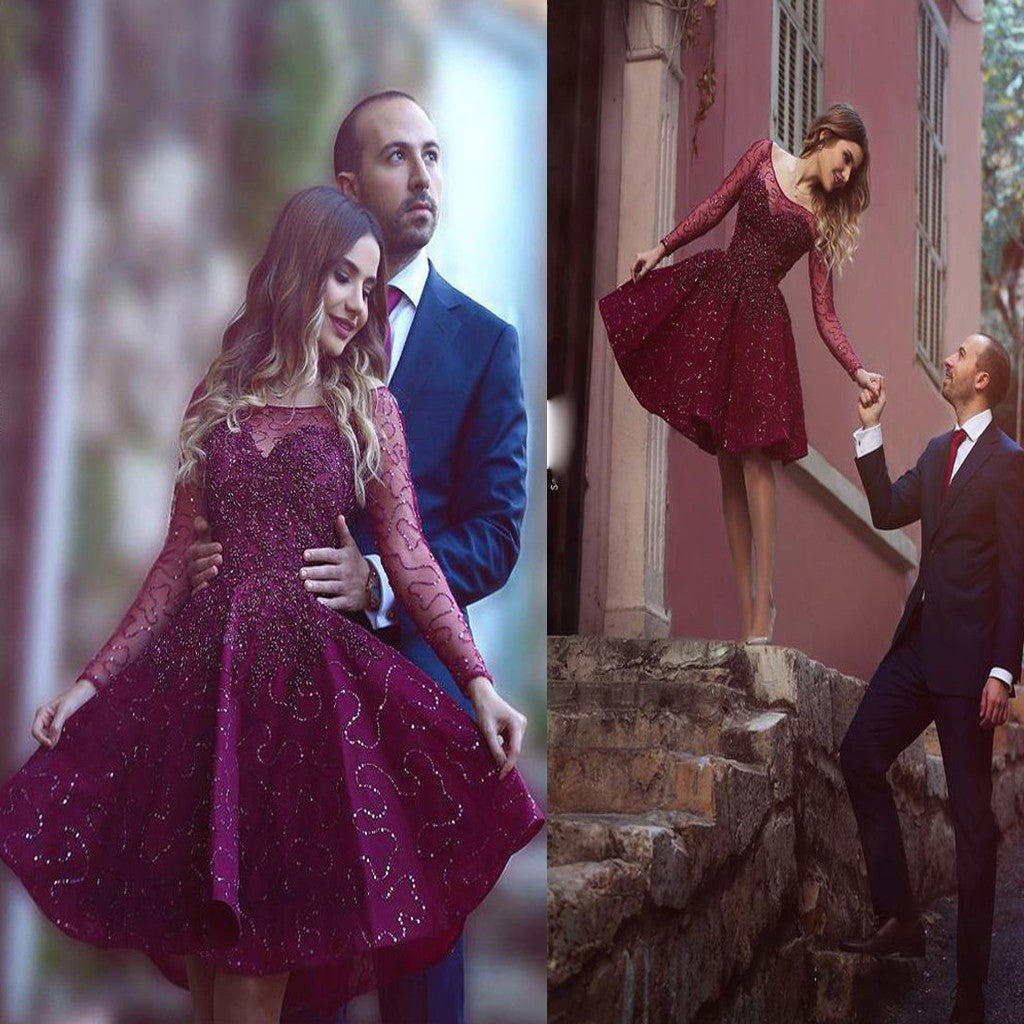 Elegant Long Sleeve Clairvoyant Outfit Burgundy Sweetheart Petal Freshman Homecoming Prom Dress,BD00122