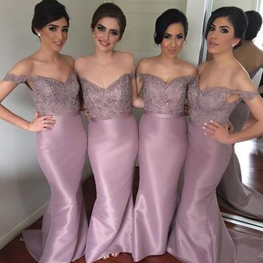 Sexy Mermaid Sweetheart Off Shoulder Lace Elegant Sweep Trailing Long Wedding Party Bridesmaid Dresses, WG123