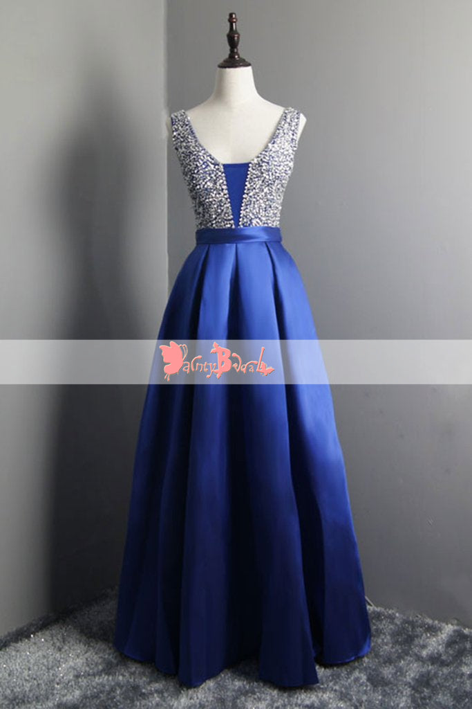 Sparkly Silver Beads Top Royal Blue Sleeveless Lace Up Back Prom Dresses. DB1069