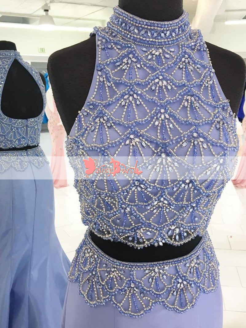 Two Piece High Neckline Keyhole Back Gorgeous Beaded For Teens Mermaid Prom Dresses. DB1070