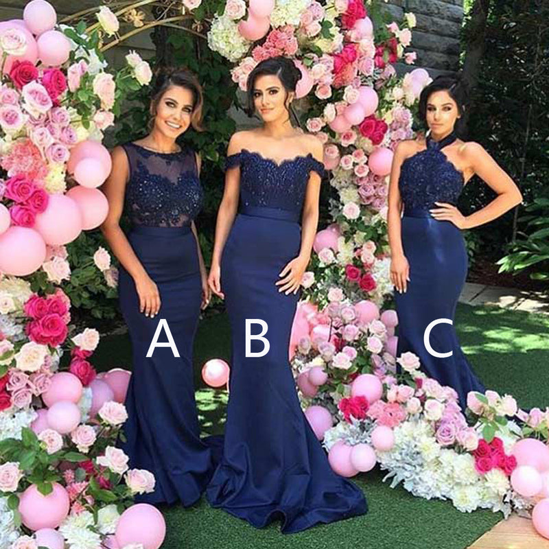 Mismatched Sexy Clairvoyant Outfit Lace Mermaid Royal Blue Long Sweep Trailing Wedding Bridesmaid Dresses, WG127