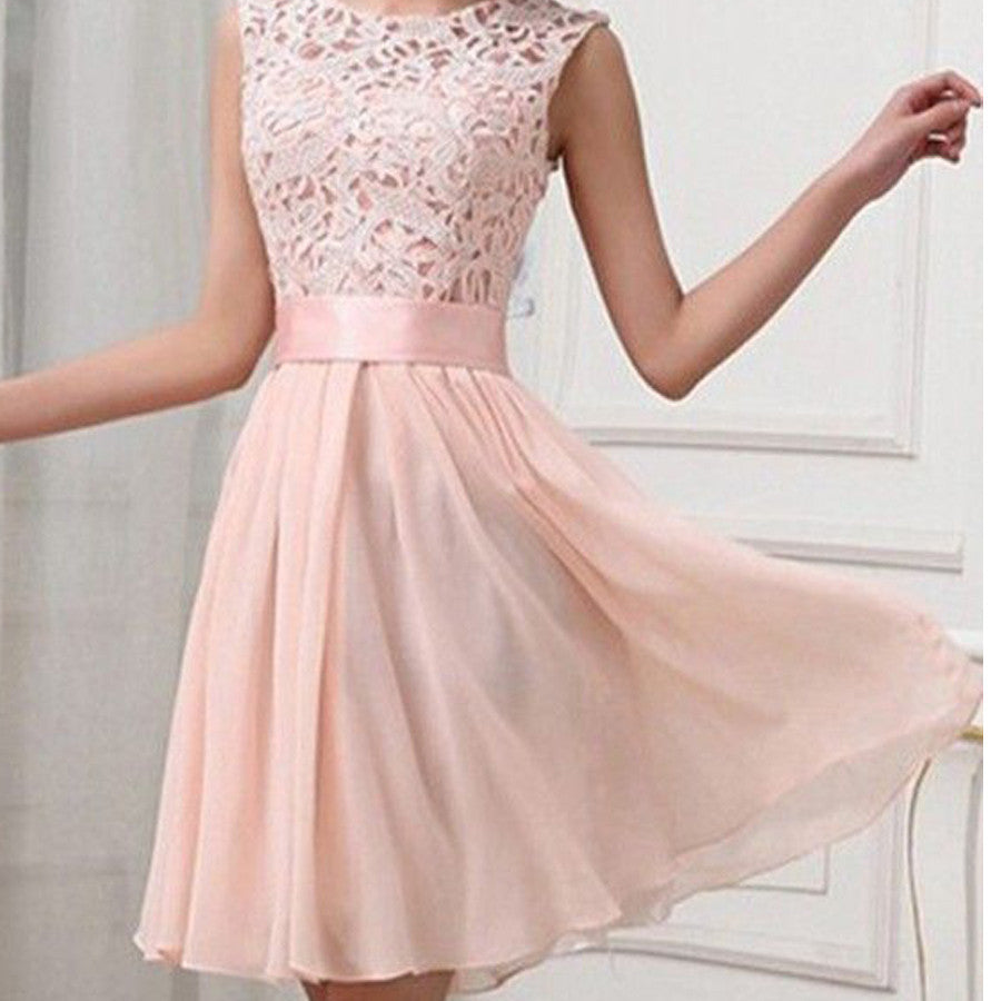 Elegant Light Pink Lace Sleeveless Satin Sash Chiffon Knee Length Homecoming Prom Dress For Teen,BD00127