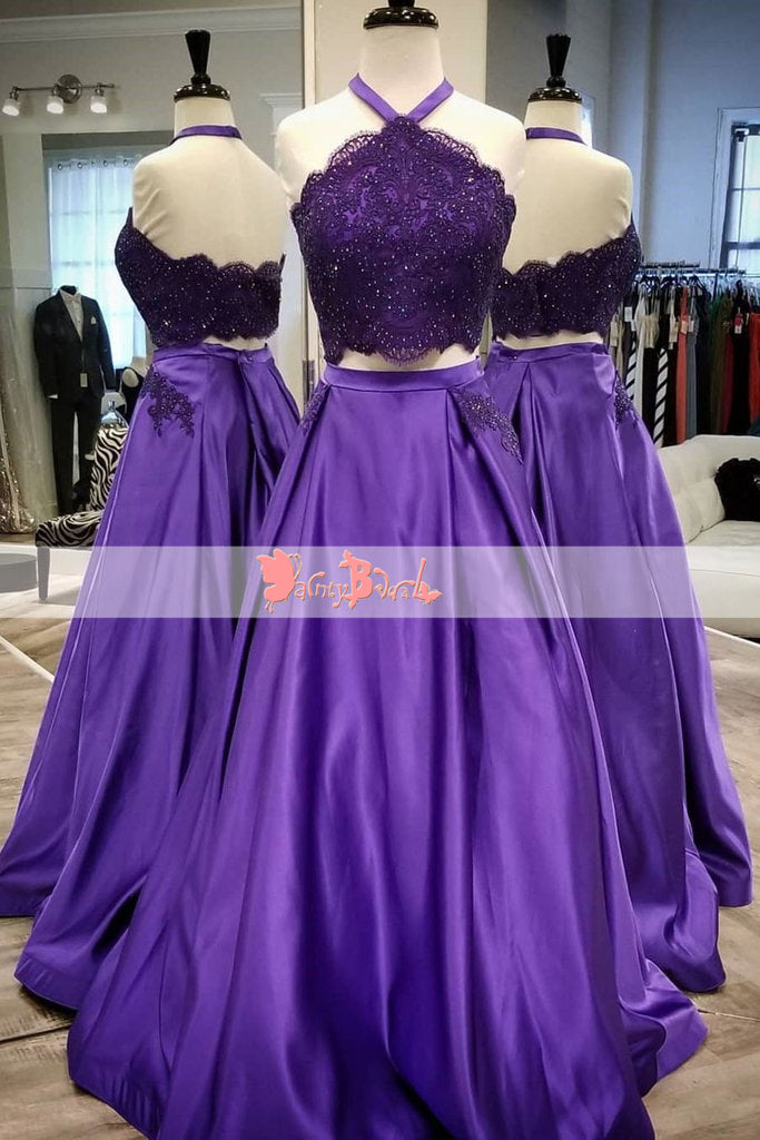 Fashion Purple Lace With Beads Two Piece Halter A-line Charming Long Prom Dresses. DB1072
