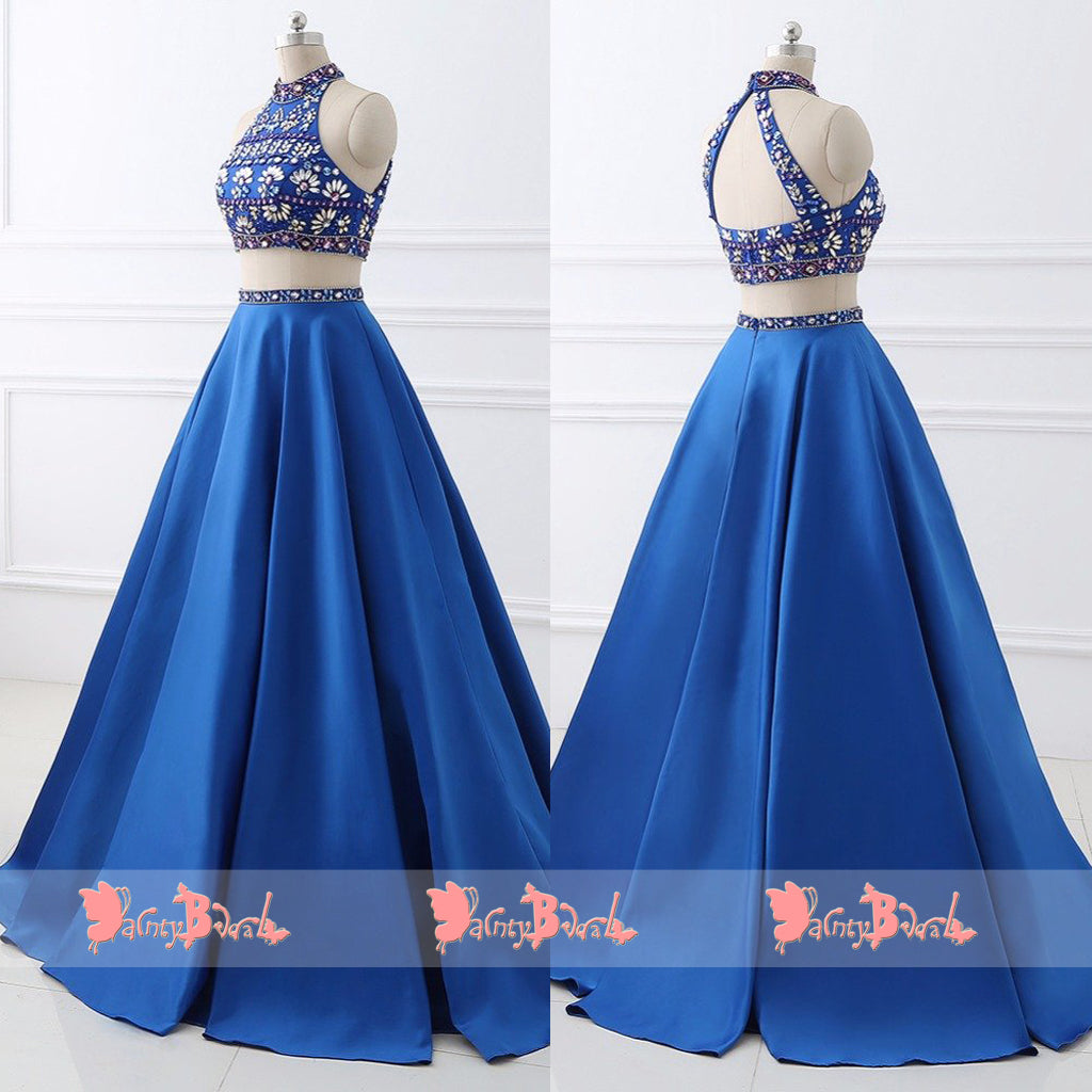 Stunning Rhinestone Two Piece High Neckline Open Back For Teens Prom Dresses. DB1073