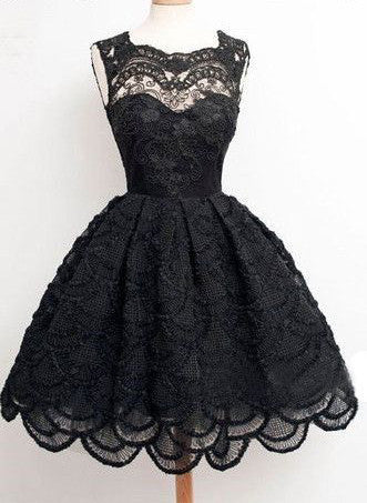 Vintage Black Full Lace Sleeveless Scoop Neckline Keyhole Lace Up Back homecoming Prom Dresses, BD00129