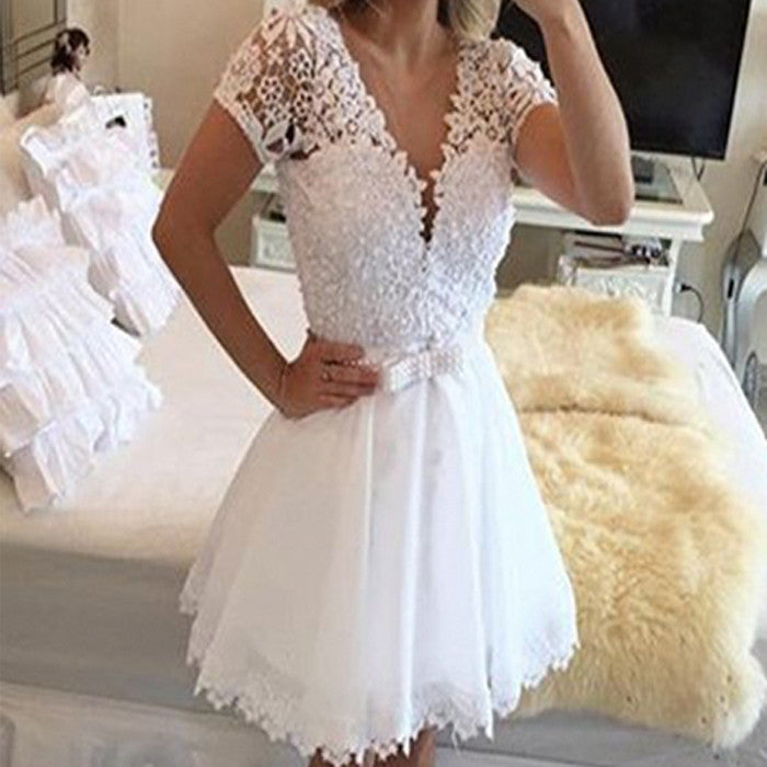 Elegant A-line Lace Short Sleeve Deep V-neck  Beads Bow Sash Sweetheart Above Knee-length Homecoming Dress,BD0105