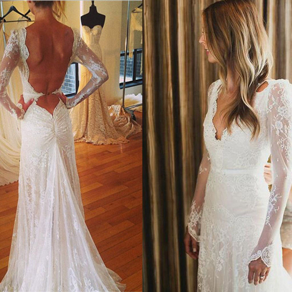 Elegant A-line Long Sleeve Deep V-Neck Backless Sexy Full Lace Wedding Party Wedding Dresses.  DB0005
