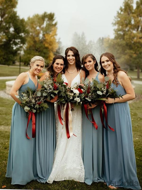 Elegant V-neck A-line Floor Length Bridesmaid Dresses.DB10178