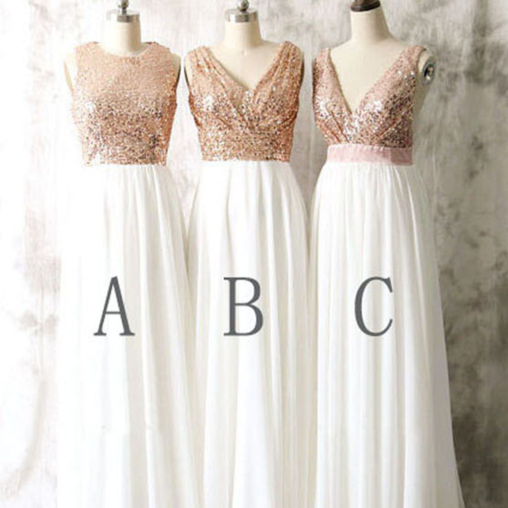 Mismatched Sequin Top White Chiffon Sleeveless Long Column Bridesmaid Dresses For Wedding, WG17