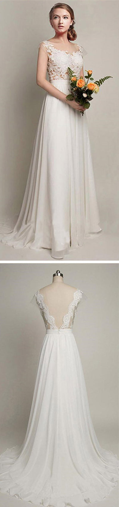Cheap Simple Column Sleeveless V-back Lace Top Chiffon Sweep Trailing Wedding Party Dresses, WD0013