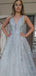 Sexy V-neck Lace Tulle A-line Prom Dresses Evening Dresses.DB10798