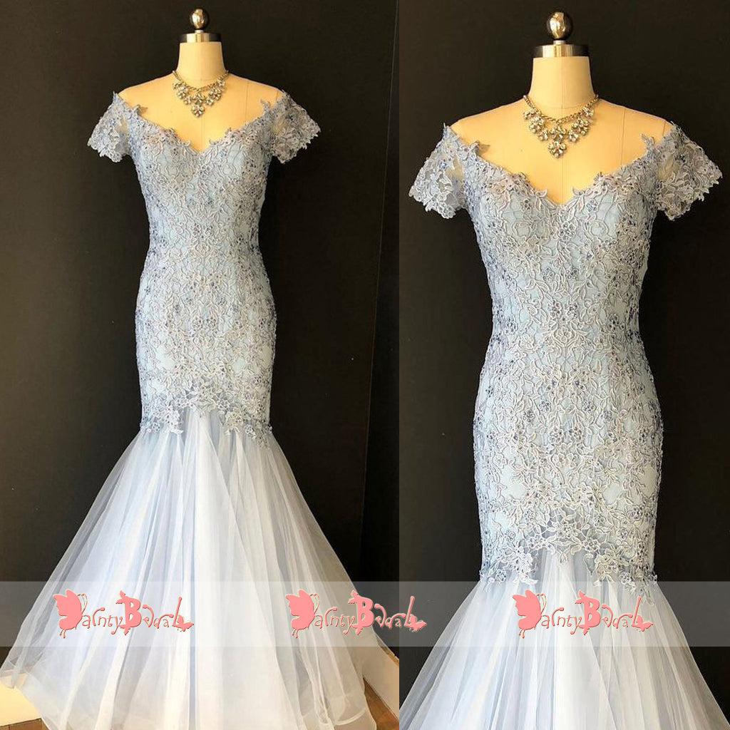 Light Pale Blue Off The Shoulder Lace Short Sleeve V-neck Mermaid  Prom Dresses. DB1074