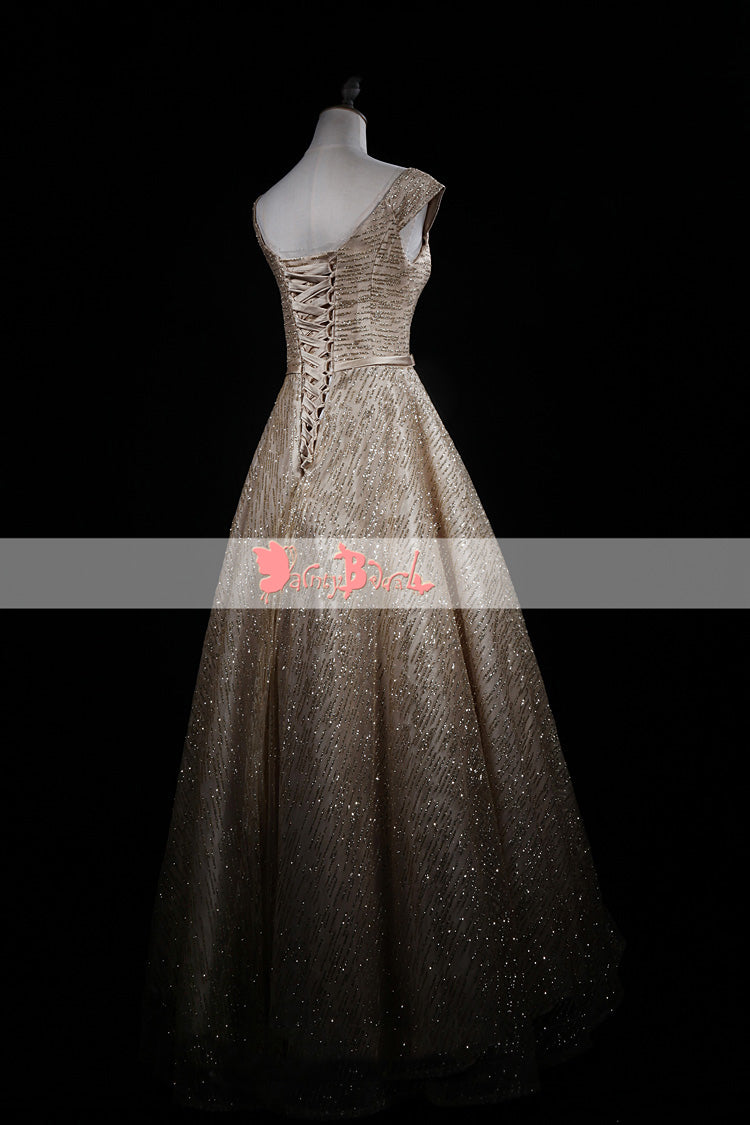 Shinning Bling Gold Sequin Ball Gown Cap Sleeve Lace Up Back Prom Dresses. DB1075