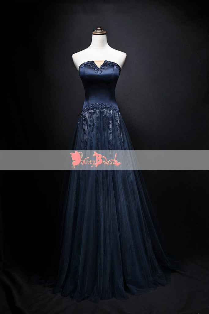 Elegant Navy Lace Strapless Cut Neckline Formal Party A-line  Prom Dresses. DB1076