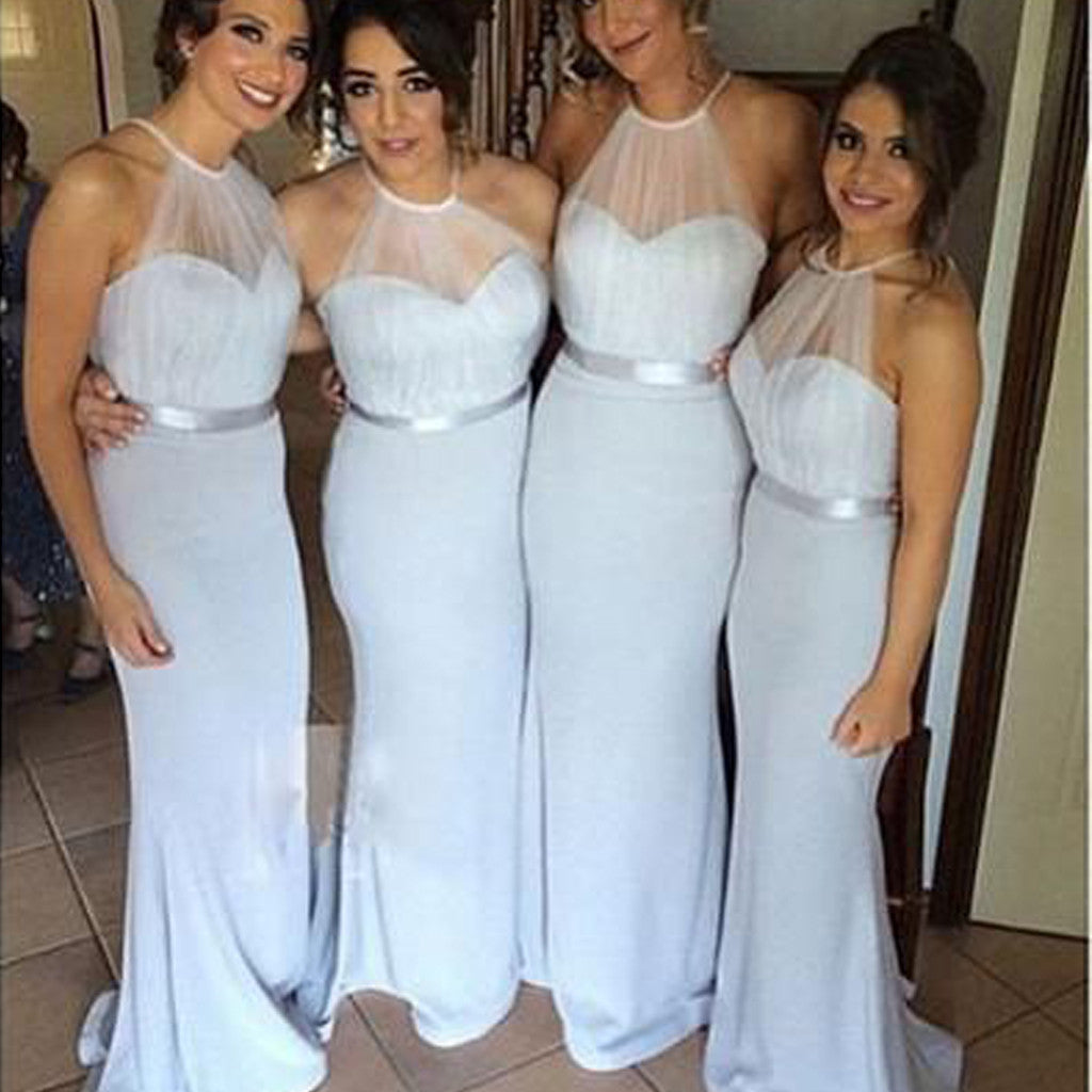 Sexy Mermaid Tulle Halter Sweetheart Fashion Long Sweep Trailing Wedding Party Bridesmaid Dresses , WG132