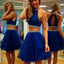 Cheap Sexy Royal Blue Two Pieces Bare-midriff Keyhole Back Sequins Homecoming Prom Dress,BD00132
