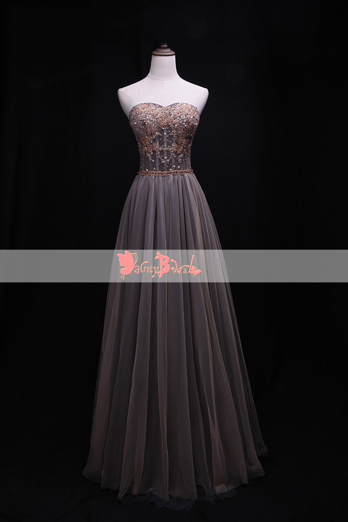 Sweetheart Strapless Appliques With Beads Top Lace Up Back Ling A-line Prom Dresses. DB1077