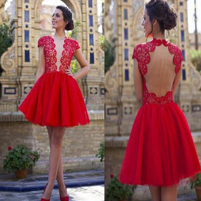 Clairvoyant Outfit Deep V-neck Red Open Back Cap Sleeve Cocktail Homecoming Prom Dress,BD00133