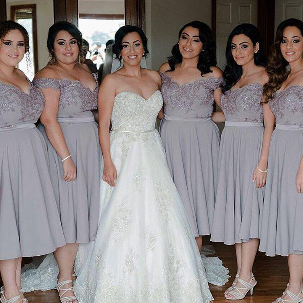 Cap Sleeve Off Shoulder Tea Length Chiffon Lace Grey Sparkly Beads Top Bridesmaid Dresses, WG134