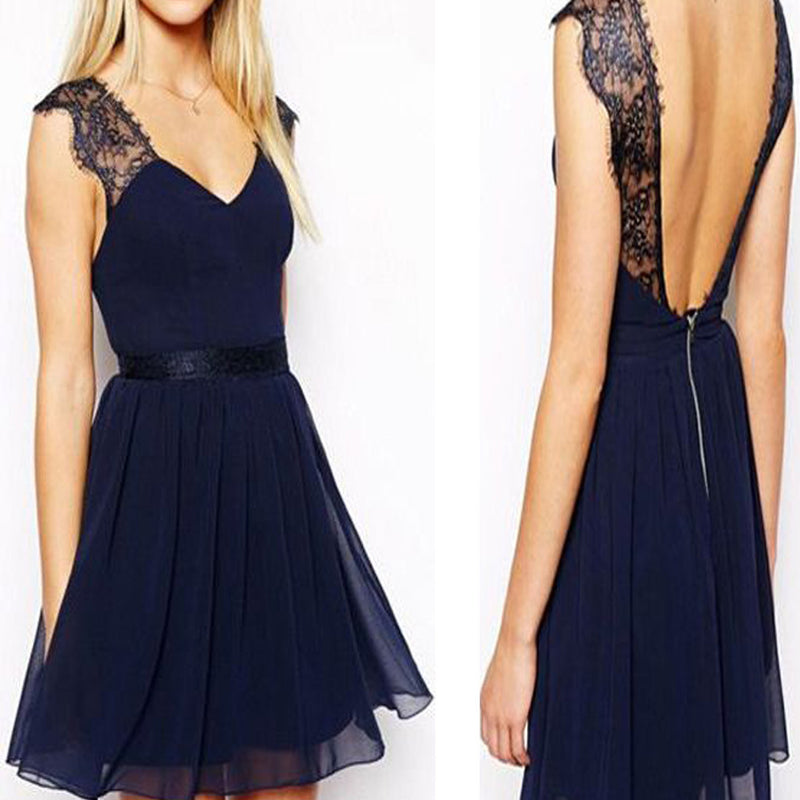 Navy blue cap sleeve chiffon open back simple casual cheap homecoming prom dress,BD00135