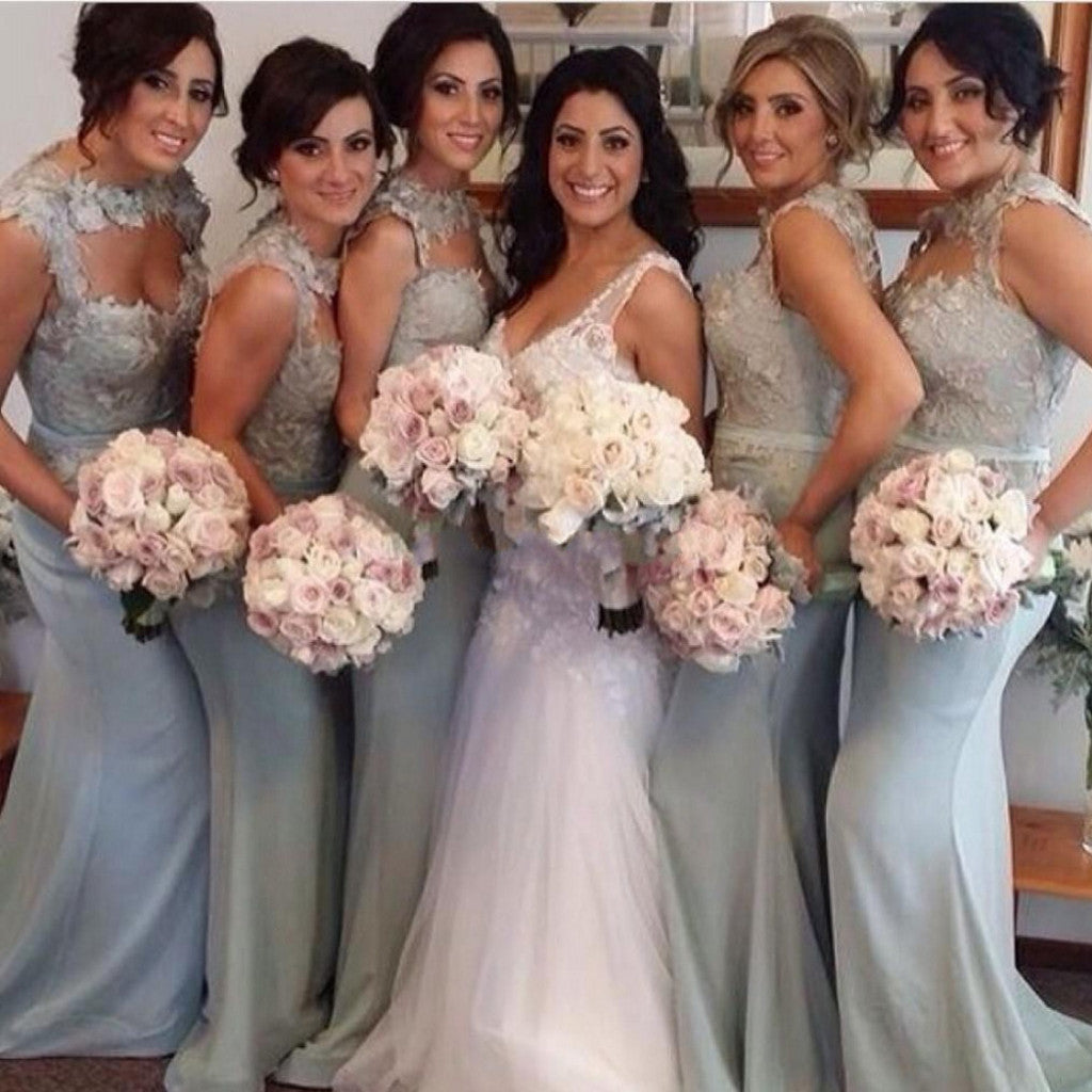 Unique Open Chest Sexy Mermaid Sweetheart Sleeveless Lace Long Sweep Trailing Wedding Bridesmaid Dresses, WG135