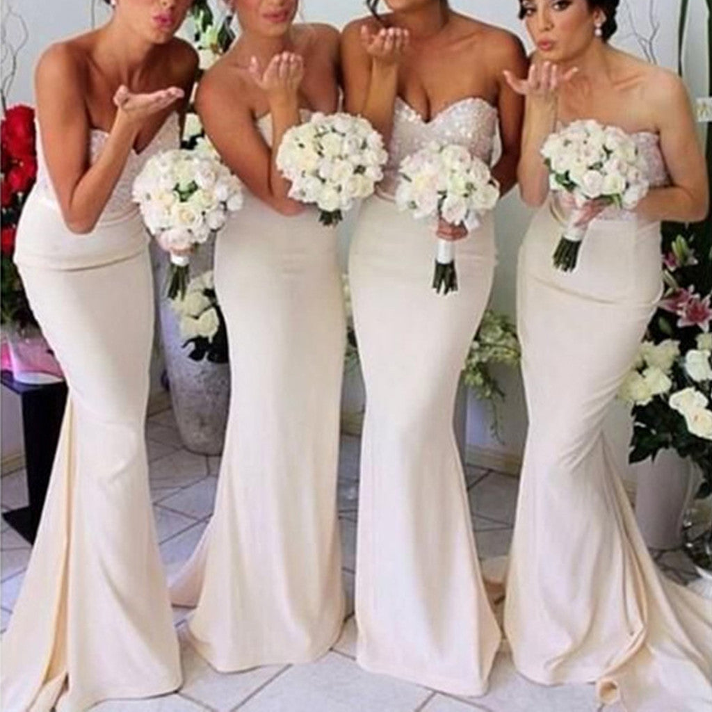 Simple Cheap Sexy Mermaid Sweetheart Strapless Sparkly Beads Top Long Wedding Party Bridesmaid Dresses, WG137