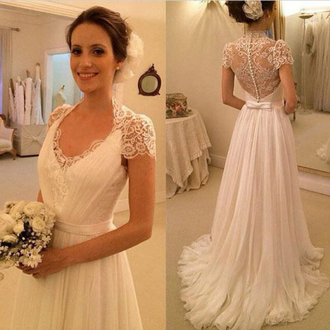Elegant Cap Sleeve Clairvoyant Outfit Lace Top Button Sheath Sweep Trailing Wedding Dresses, WD0137