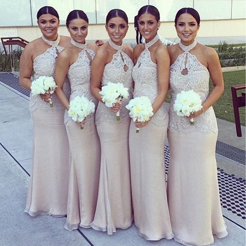 Halter Lace Top Sexy Mermaid Long Elegant Cheap Floor Length Column Wedding Bridesmaid Dresses, WG138