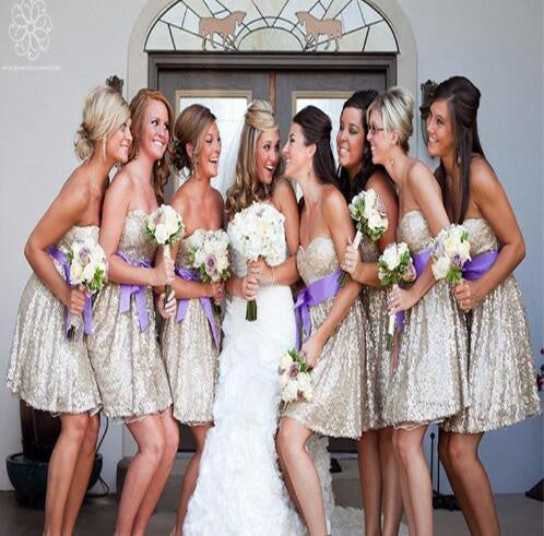 Sparkly Sequin Sweetheart Strapless Shinning Knee-Length Cheap Short Bridesmaid Dresses fpr Wedding Party, WG139