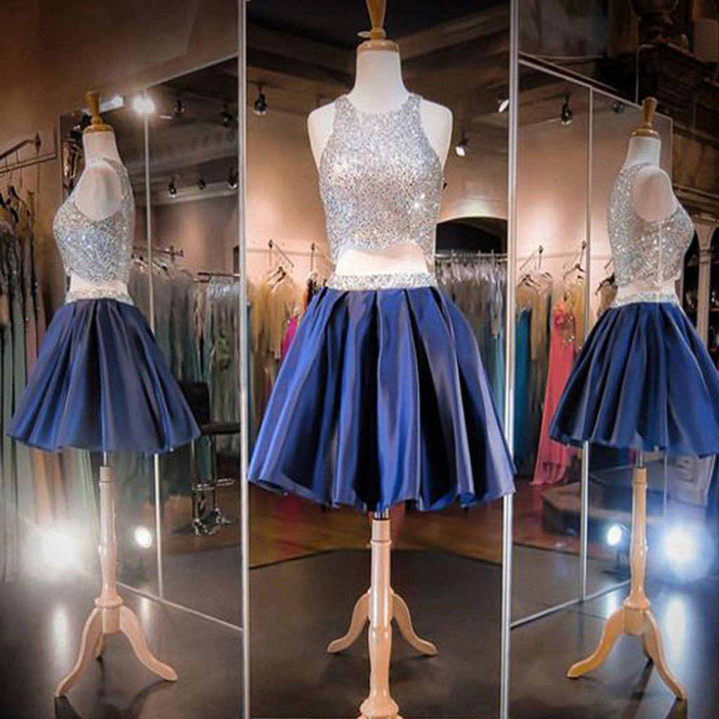 Two Pieces Bare-midriff Royal Blue Sequins Sleeveless Sparkly Round Neckline Homecoming Prom Dress,BD0013