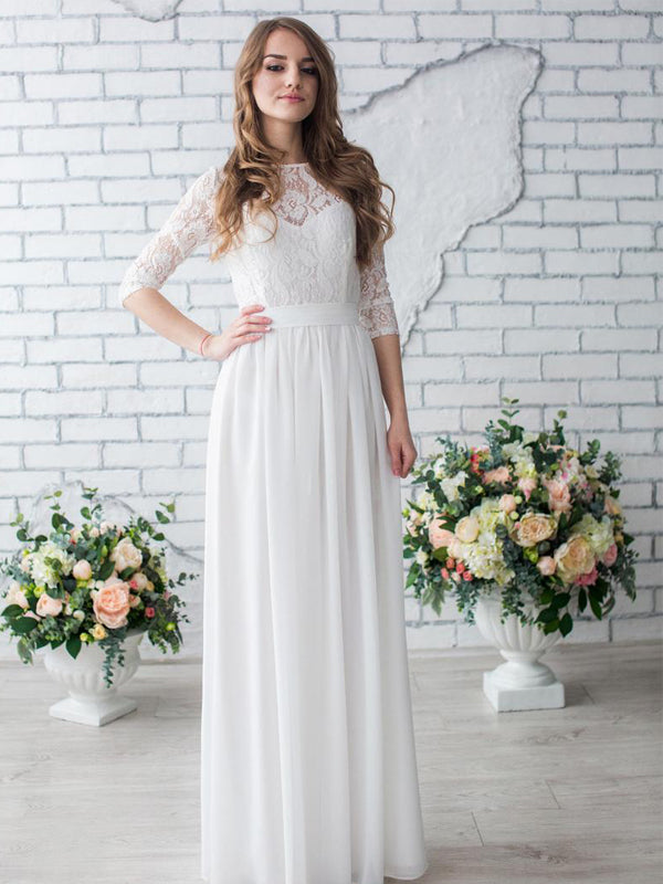 Affordable Simple Chiffon Lace 1/2Sleeve Long Wedding Dresses, DB10688