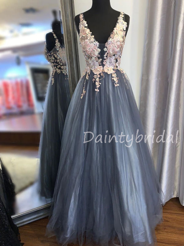 Charming V-neck  A-line Tulle Long Prom Dresses Evening Dresses.DB10573