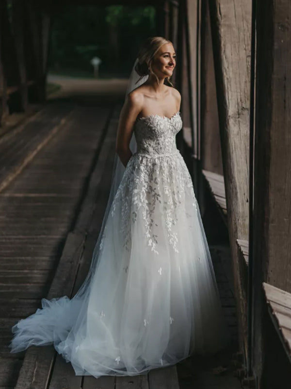 Simple Straight A-line Sleeveless Tulle Lace Long Wedding Dresses, DB10742