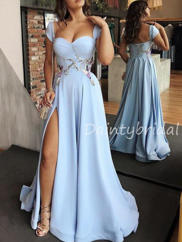 Charming Sweetheart Satin A-line Side Slit Long Prom Dresses Evening Dresses.DB10553