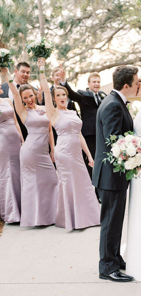 Elegant Simple Scoop Neck Sleeveless Mermaid Wedding Party Dresses Long Bridesmaid Dresses.DB10704