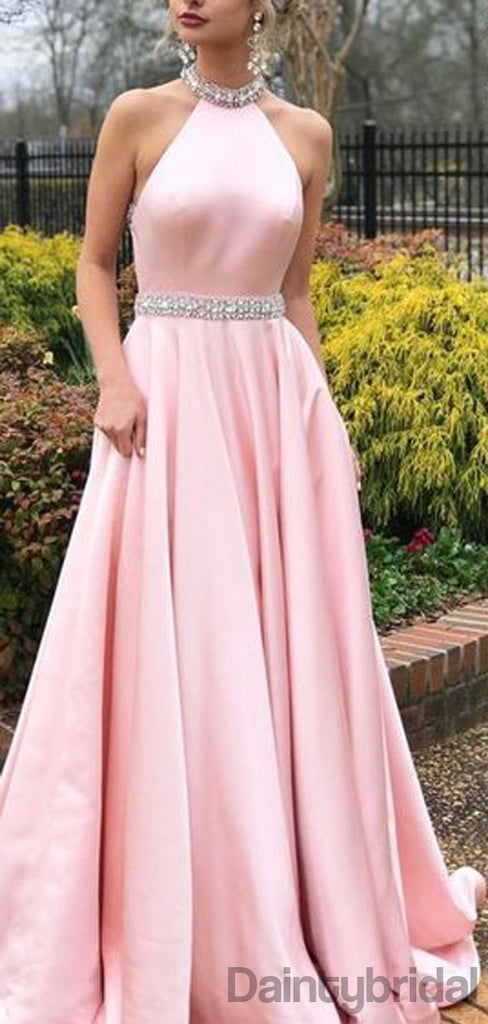 Halter Satin Open Back A-line Long Prom Dresses.DB10193