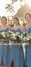 Charming V-neck Side Slit Simple Long Bridesmaid Dresses.DB10757