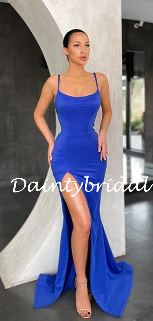 Sexy V-neck Spaghetti Strap Mermaid Prom Dresses Evening Dresses.DB10799