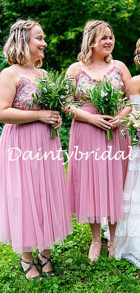 Sexy Spaghetti Strap V-neck Knee Length Tulle Bridesmaid Dresses.DB10770