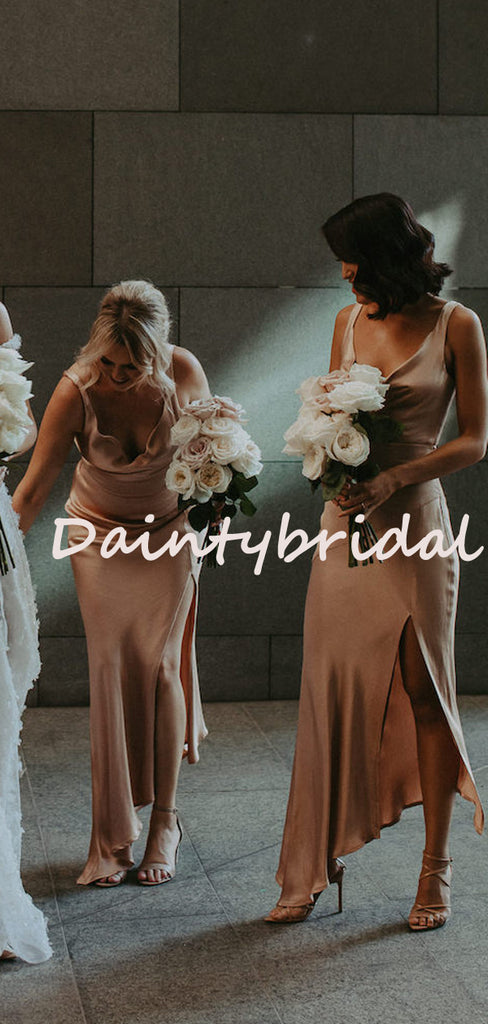 Sexy V-neck Mermaid Side Slit Long Evening Dresses Bridesmaid Dresses.DB10728