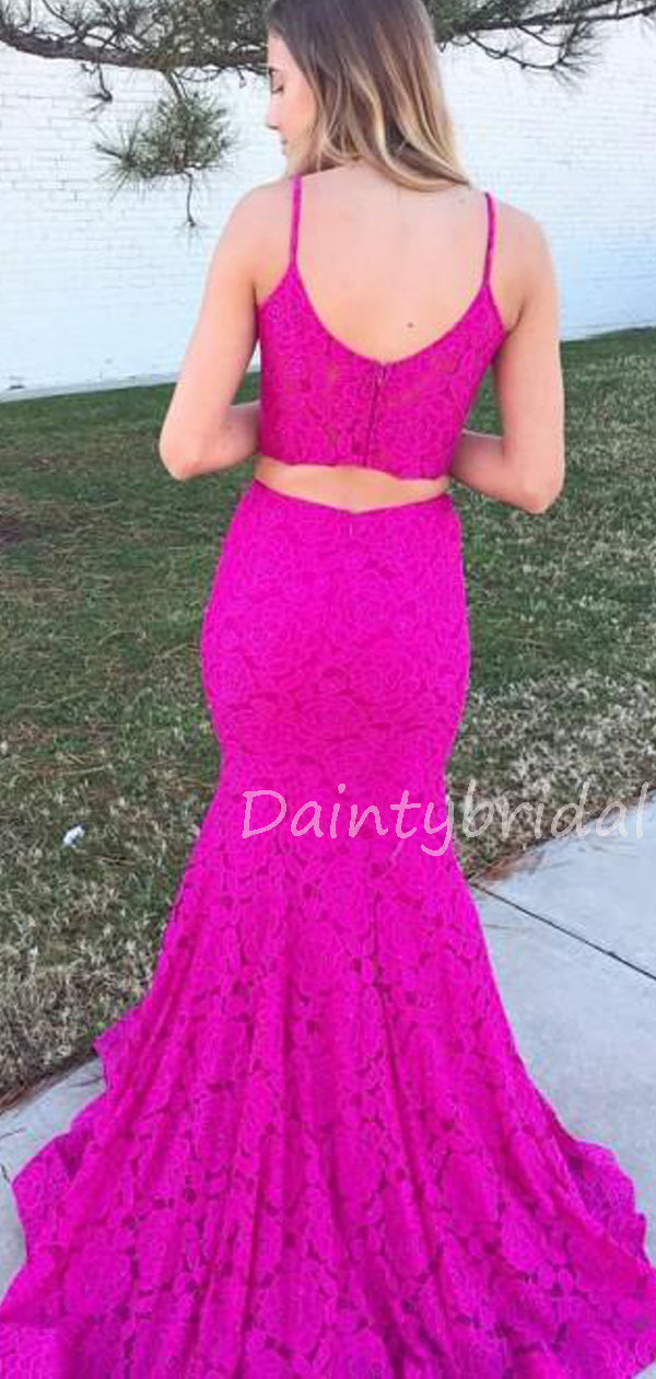 Charming V-neck Lace Two-piece Mermaid Long Prom Dresses Evening Dresses.DB10554