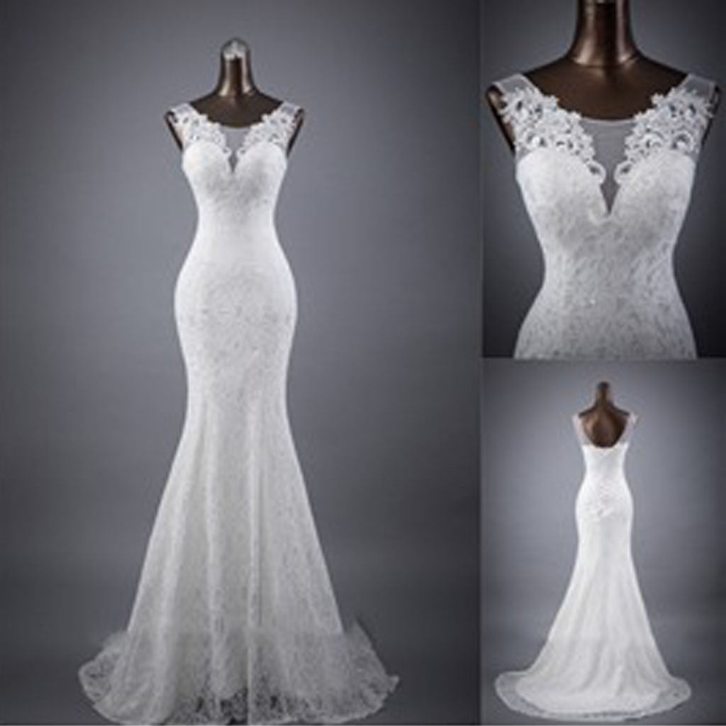 Popular Elegant Sleeveless Mermaid Lace Up Back Lace Sweep Trailing Wedding  Dresses, WD0142