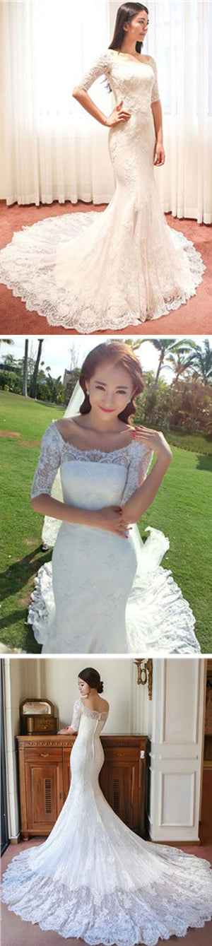 Gorgeous Scoop Neck Half Sleeve Popular Mermaid Full Lace Chapel Trailing Wedding Dresses, WD0144