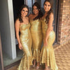 Shinning Gold Sequin Sweetheart Strapless Mermaid Sexy HI-Lo Ruffles Long Bridesmaid Dresses, WG144