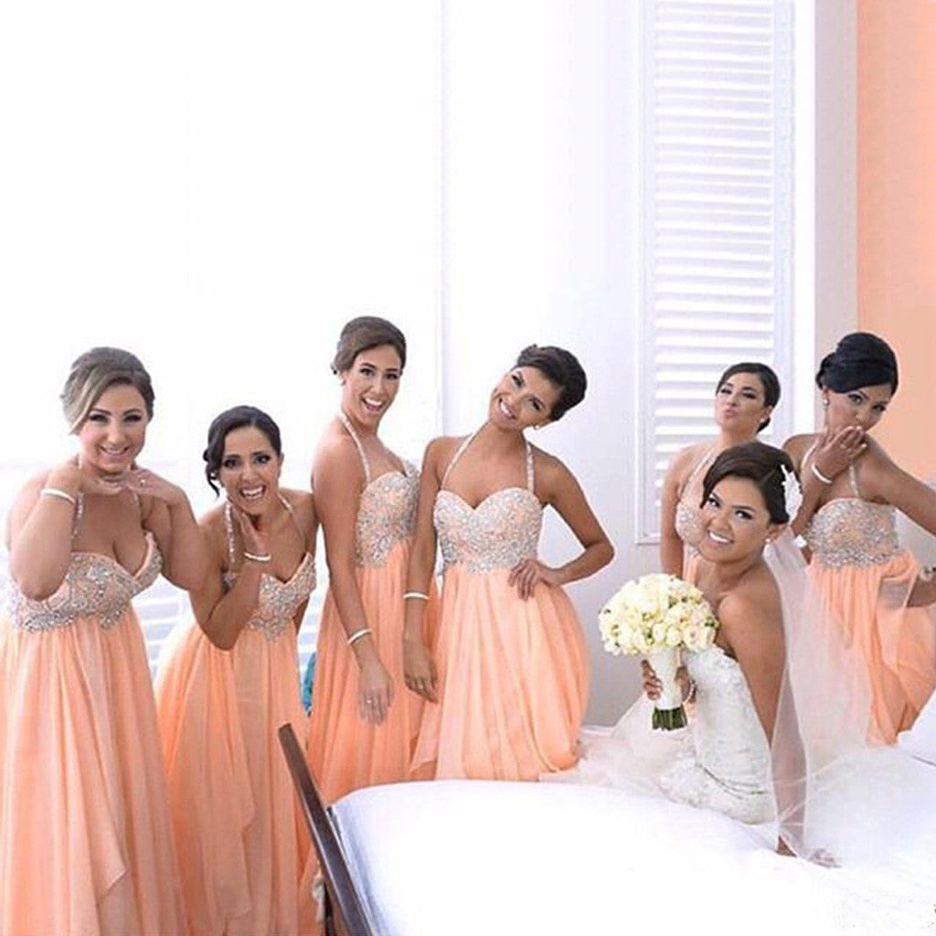 Halter Spaghetti Strap Sweetheart Sparkly Rhinestone Top Chiffon Long Bridesmaid Dresses, WG145